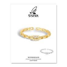 S'STEEL géométrique anneaux 925 en Argent Sterling Zircon à la mode minimaliste or réglable Bague pour femmes Bague Argent Femme bijoux