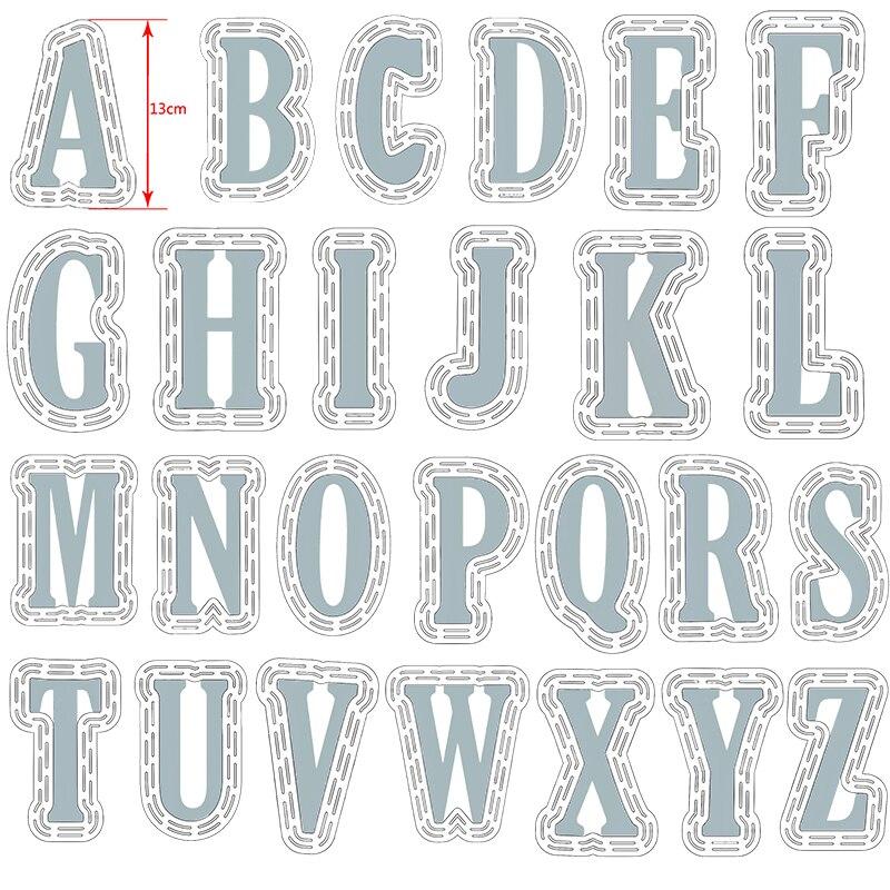 52 pièces/ensemble grand 10cm A-Z Alphabets grand métal matrices de découpe 13cm pochoir en plastique pour bricolage Scrapbooking artisanat papier cartes nouveau 2019