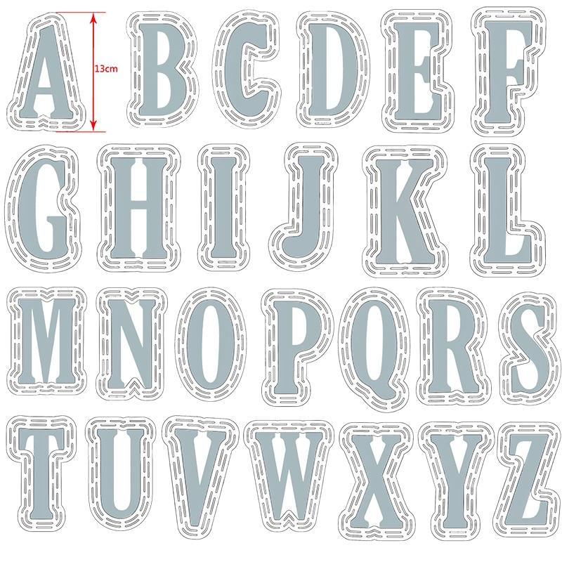 52 pz/set di Grandi Dimensioni 10 centimetri A Z Alfabeti Grande Metallo Fustelle 13 centimetri di Plastica Stencil per il FAI DA TE Scrapbooking Mestieri di Carta Carte nuovo 2019 - 1