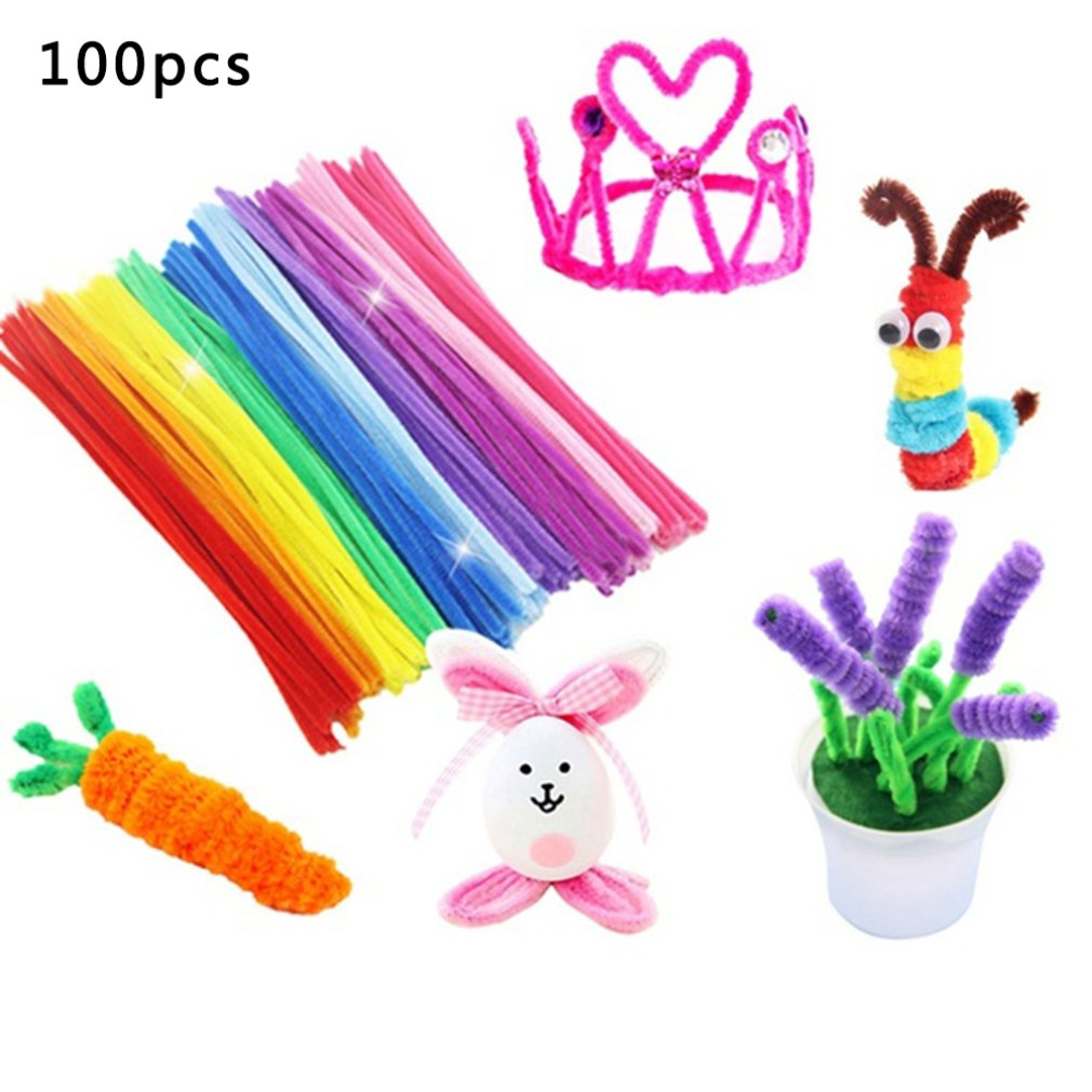 100pcs Chenille Stems Pipe Cleaners Kids Plush Stick Children's Educational Toys Handmade Art Materials Toys DIY Craft Supplies