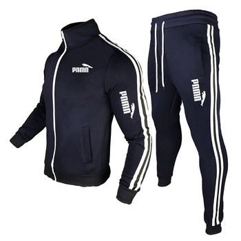 Męska Joggingsuit nowa moda odzież sportowa męska Zipper dopasowane kolory płaszcz + spodnie odzież sportowa Fitness odzież męska marki tanie i dobre opinie CN (pochodzenie) O-neck Elastyczny pas Inne Pełna Na co dzień