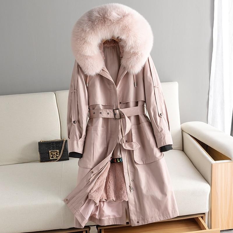Real 2020 Fur Coat Female Real Rabbit Fur Liner Warm Parka Winter Jacket Women Fox Fur Collar Korean Long Jackets MY4074 S