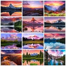 HUACAN – peinture de diamant de paysage de coucher de soleil, nouvelle broderie de strass, mosaïque de montagne, cadeau fait à la main