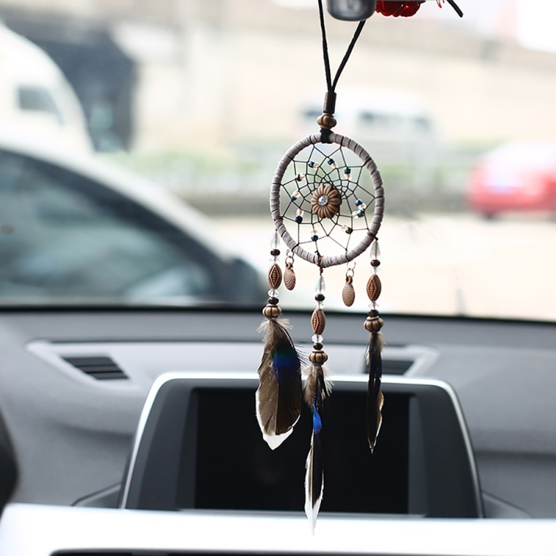 Mini Car Dreamcatcher Small Shells Beaded Natural Feathers Handcraft Chic Hanging Ornaments Bedroom Wall Decor Native Ring