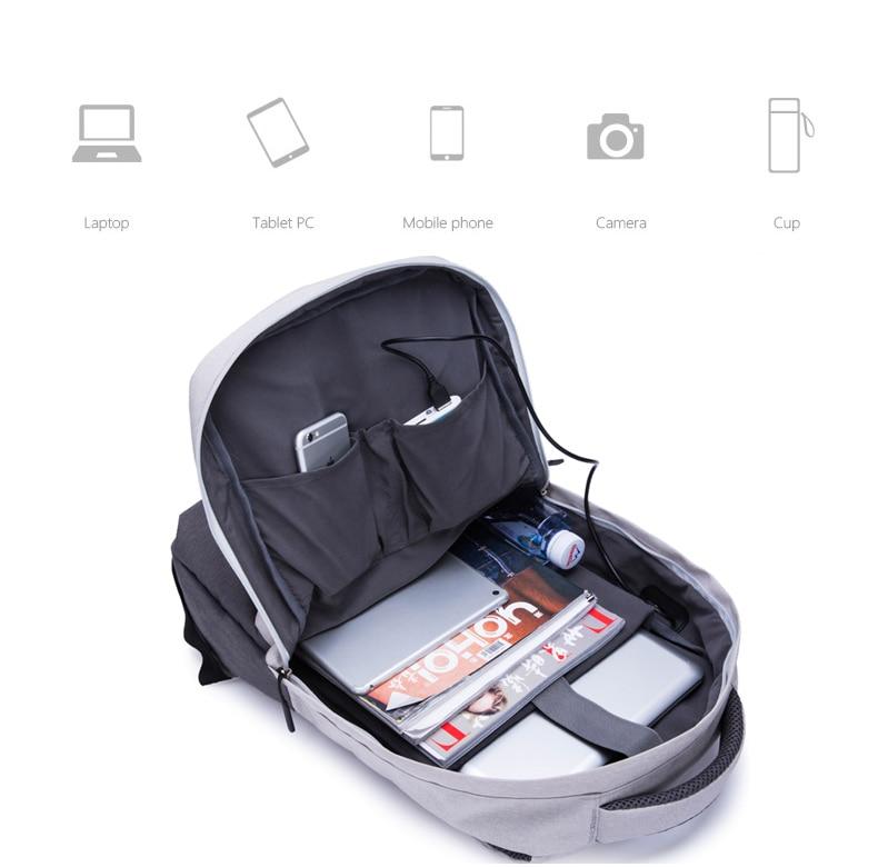 usb de carregamento mochilas computador anti-roubo mochila