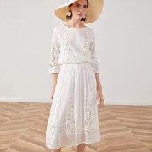 ヴィ秋ドレスブランドロング女性ドレス 2019 TEELYNN シルクコットンレースのドレス白花刺繍パーティードレス