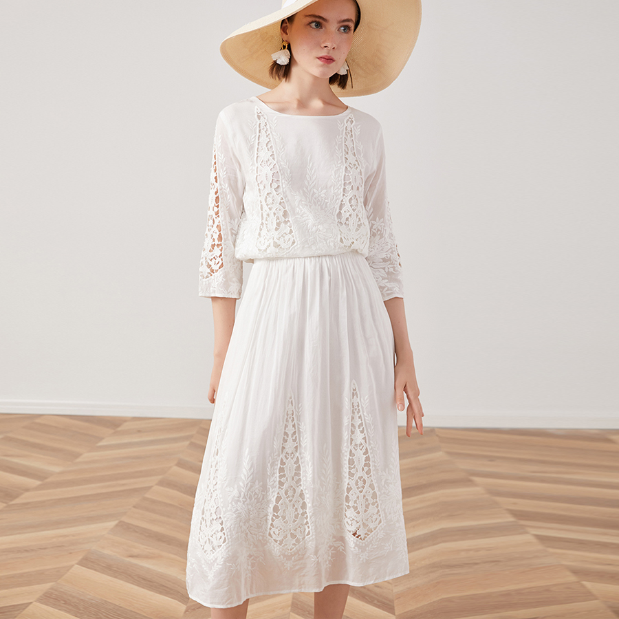 TEELYNN silk cotton lace dress white floral Embroidery party dresses 2019 vintage midi Autumn dresses brand long women dresses