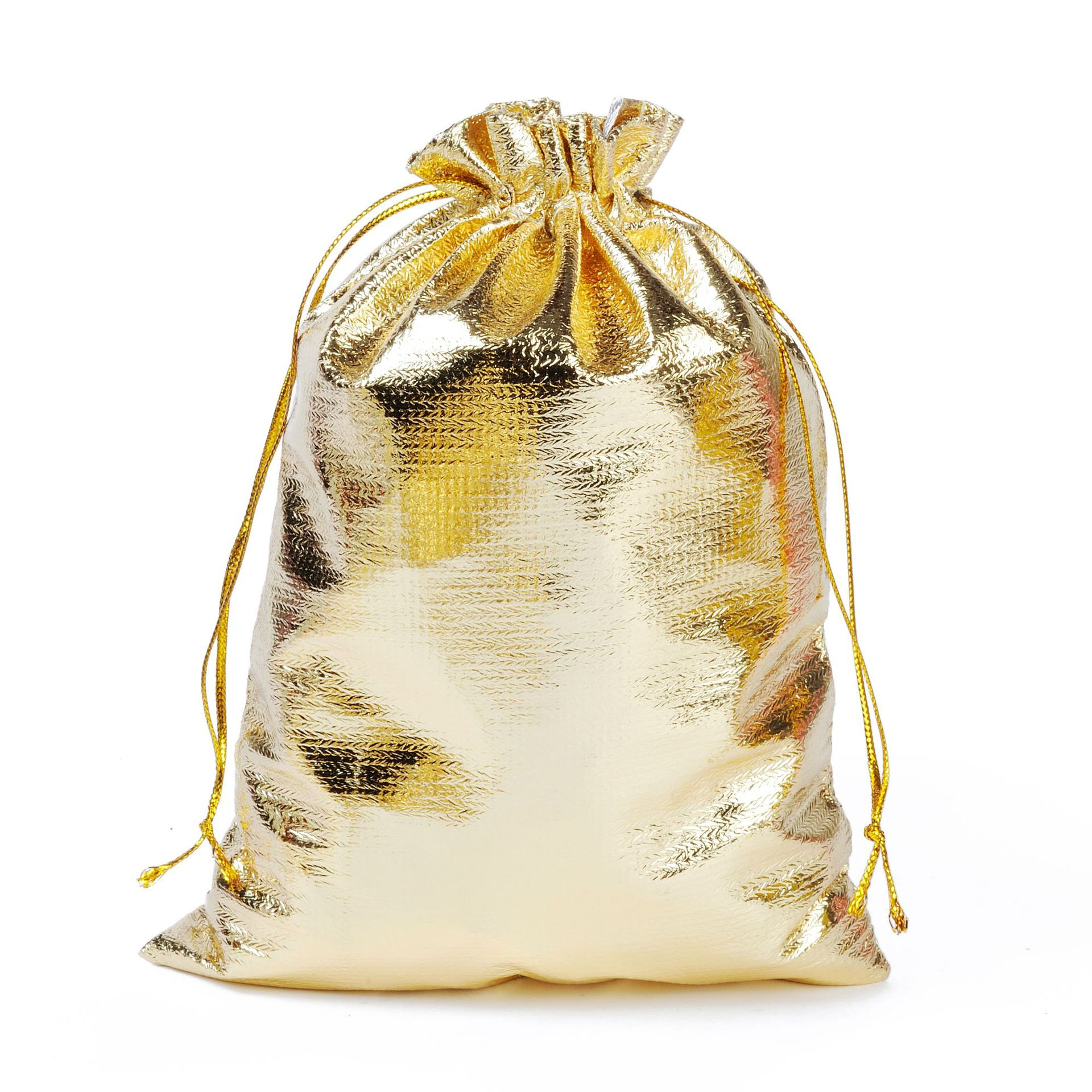100pcs/lot 13x18cm Silver Golden Foil Cloth Drawstring Bag Wedding Gift Bags & Jewelry Packing Pouches