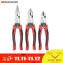 """NEWACALOX Juego de alicates de alambre multifunción, 8 """", cortador de pelar, pinza de punta de aguja, herramientas de joyería, Diagonal"""