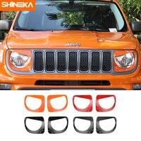 Shineka lâmpada capuzes para jeep renegado 2019 + frente do carro farol lâmpada decoração capa etiqueta para jeep renegado 2019 estilo do carro