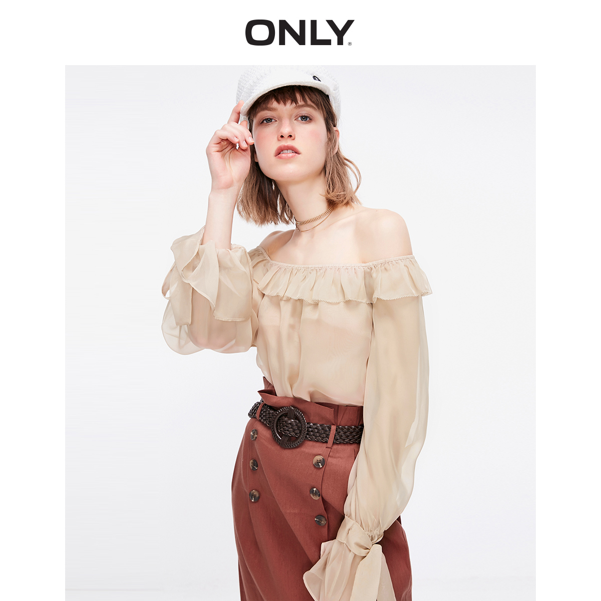 ONLY  Women's Loose Fit Ruffled Off-the-shoulder Chiffon Shirt | 119251503