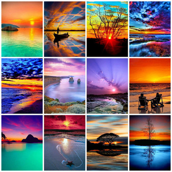 HUACAN Diamond Painting Full Drill Square Landscape 5D DIY Embroidery Seaside Sunset Picture Of Rhinestone Sunrise - discount item  39% OFF Arts,Crafts & Sewing