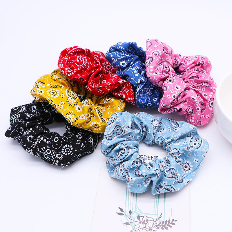 Fashion Printed Bandana Scrunchie For Women Girls Elastic Hair Rope Ties Ring Floral Hair Bands Ponytail Holder Hair Accessories