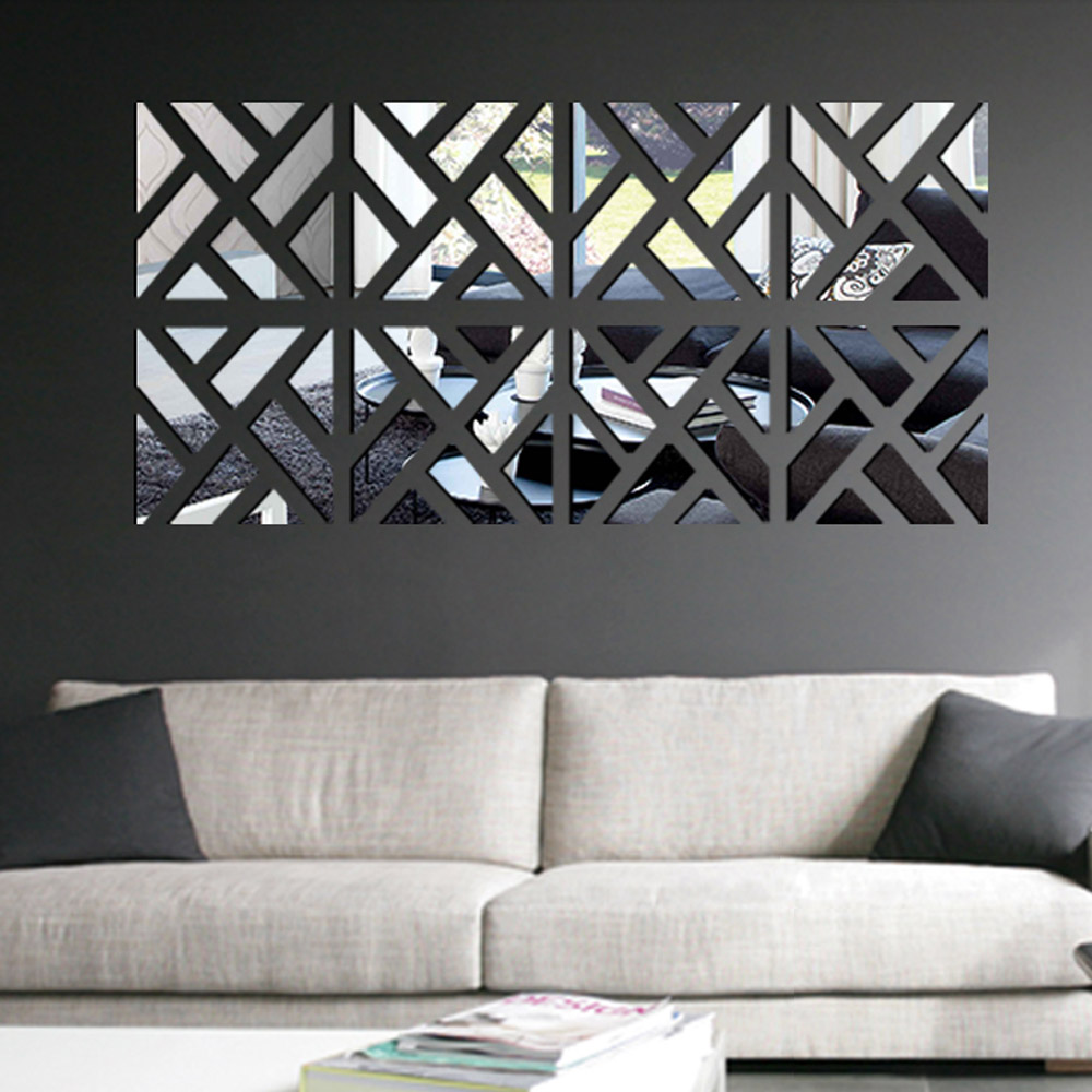 Geometric Removable DIY 3D Acrylic Mirror Wall Decal Set Sticker Art Decals Mural For Home Decoration 30*120cm
