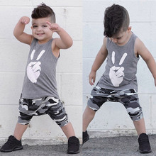 Baby Boy Clothes Tops Victory T Shirt Vest Camouflage Shorts Outfits Summer two picese Set Toddler Kids Clothing детская одежда