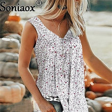 Big Size Women Summer T Shirts Casual Sleeveless Tops Tees Sexy Floral Print T-Shirt V-Neck Loose Vests Plus Size S-7XL Shirts