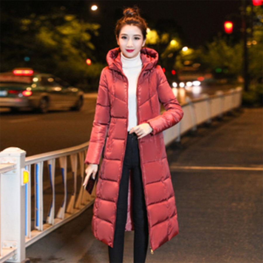 Hooded Long Winter Down Coats Women Solid Zipper 6XL Cotton Jackets Coat Plus Size Female Fashion Thicken Warm Parkas Outerwear
