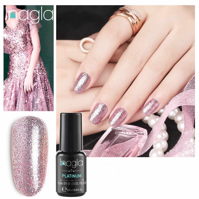 Inagla Soak Off UV LED Gel Semi Permanent Platinum Nails Gel Varnish Glitter UV Gel Long Lasting  Gel Varnish