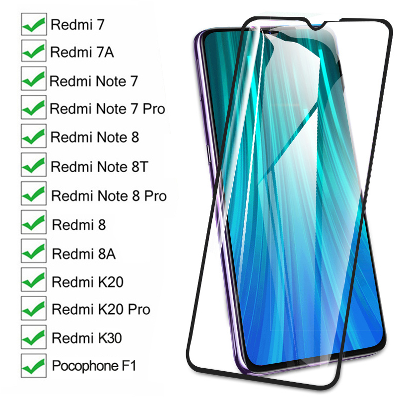 9D Screen Protective Glass On The Redmi 8 8A 7 7A K20 K30 For Xiaomi Pocophone F1 Redmi Note 8 8T 7 Pro Tempered Glass Film Case(China)