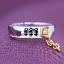 Anime JoJo's Bizarre Adventure Kujo Jotaro 925 Sterling Silver Ring Jewelry Fashion Adjustable Finger Rings Cosplay Xmas Gift