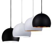 シンプルなボールペンダントライト 20 センチメートル 25 センチメートルブラック & ホワイト E27 ペンダントランプレストラン照明器具