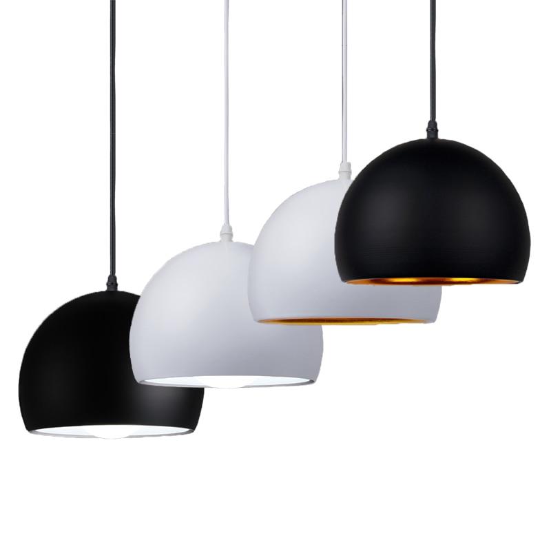Simple Ball Pendant Lights 20cm 25cm Black & White E27 Pendant Lamps Restaurant Lighting Fixture
