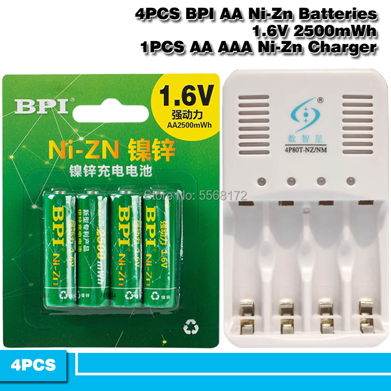 4pcs BPI 1.5V <font><b>1.6v</b></font> <font><b>AA</b></font> 2500mWh rechargeable <font><b>battery</b></font> + 1pcs <font><b>AA</b></font>/AAA Ni-Zn NI-MH Smart charger image