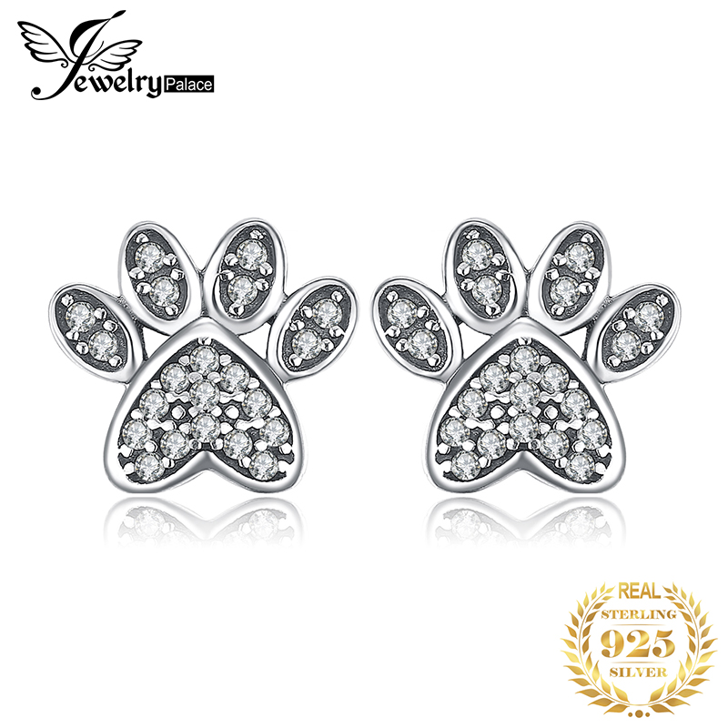 925 Sterling Silver Ear Studs Dog Cat Paw Print with CZ Earrings Made USA