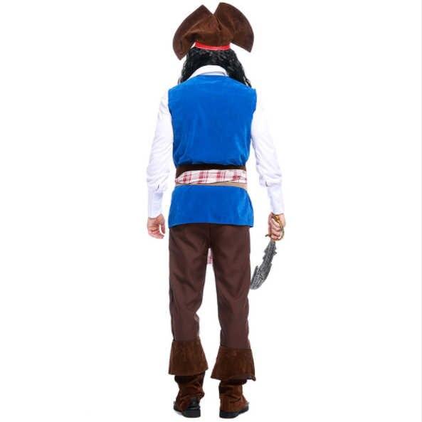 Halloween adulto buccaneer capitão fantasia vestido jack sparrow cosplay piratas do caribe roupa