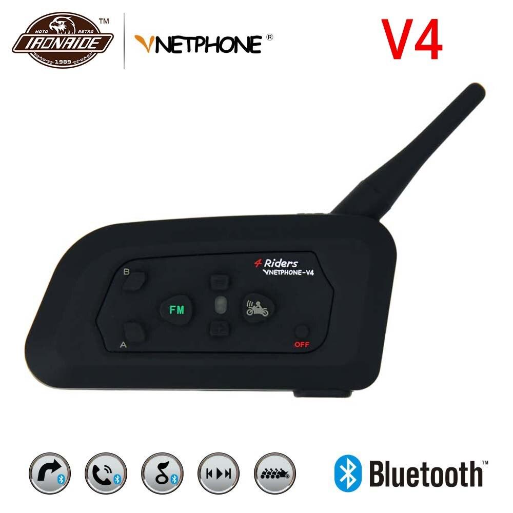 VNETPHONE 1200m Motorcycle Intercom Bluetooth Intercom Motorcycle Headset Helmet Intercom Wireless Speaker For 4 Rider