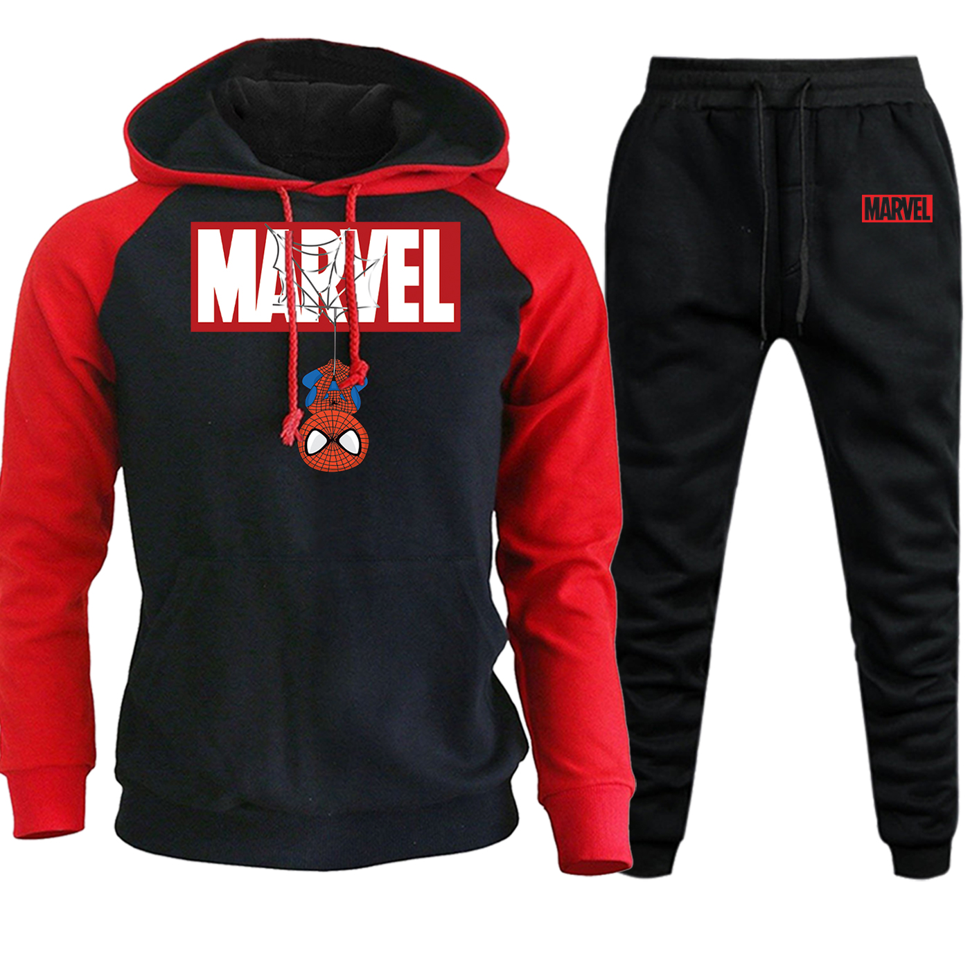 Spiderman Autumn Hot Sale Hooded Mens Sweatshirts Raglan Marvel Casual Pullover Suit Streetwear Hoodie+Sweatpants 2 Piece Set