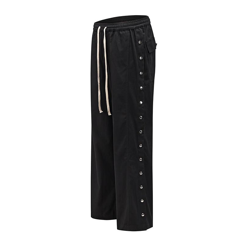 Harajuku Side Button Drawstring Baggy Track Pants Mens Streetwear Straight Loose Casual Trousers Jogger Hip Hop Sweat Pants