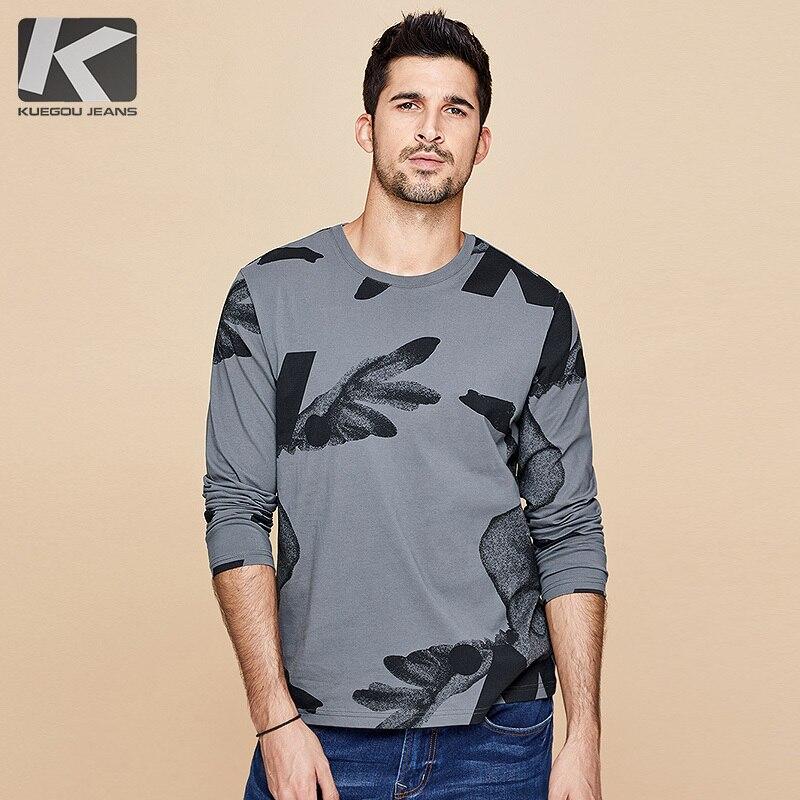 KUEGOU 2019 Autumn 100% Cotton Print Gray T Shirt Men Tshirt Brand T-shirt Long Sleeve Tee Shirt Male Fashion Clothes Top 490