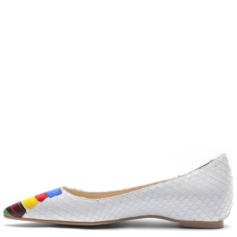 YECHNE Snake skin patroon vrouwen Platform Schoenen Wees Teen Flats Mode Lente Herfst Ondiepe Wit Platform Ballet Schoenen