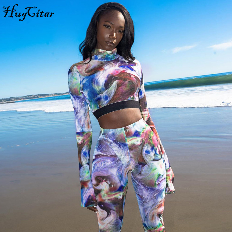 Hugcitar 2020 Tie Dye Print Colorful Sexy Crop Tops Leggings 2 Pieces Set Spring Women New Sporty Streetwear Outfits Tracksuits