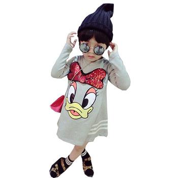 Dziewczyny ubrania z długim rękawem T-shirt sukienka cartoon cekiny aplikacja księżniczka sukienka baby3-7years staromodny luźne wysokiej jakości odzież tanie i dobre opinie shi shu hua Poliester COTTON CN (pochodzenie) Kolan O-neck REGULAR Pełna Europejskich i amerykańskich style Pasuje prawda na wymiar weź swój normalny rozmiar