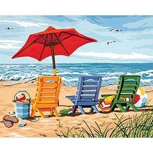 Plaj tuval üzerine numarasına göre boyama akrilik boya ile yetişkinler için çerçevesi boyama numarası çizim resim ev dekorasyon sanat