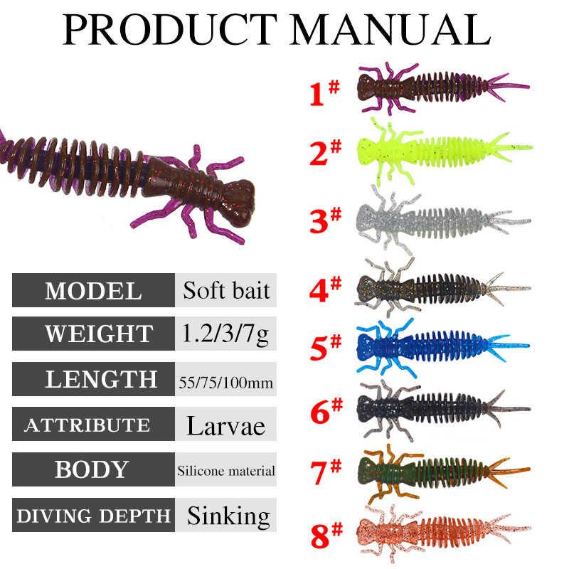 5 ชิ้น/ล็อตแมลง Leurre Souple ตกปลา Lure กลิ่น Soft Lure Isca ประดิษฐ์ Wobbler เหยื่อตกปลา 1.2/3/7g ซิลิโคน Larva เหยื่อ