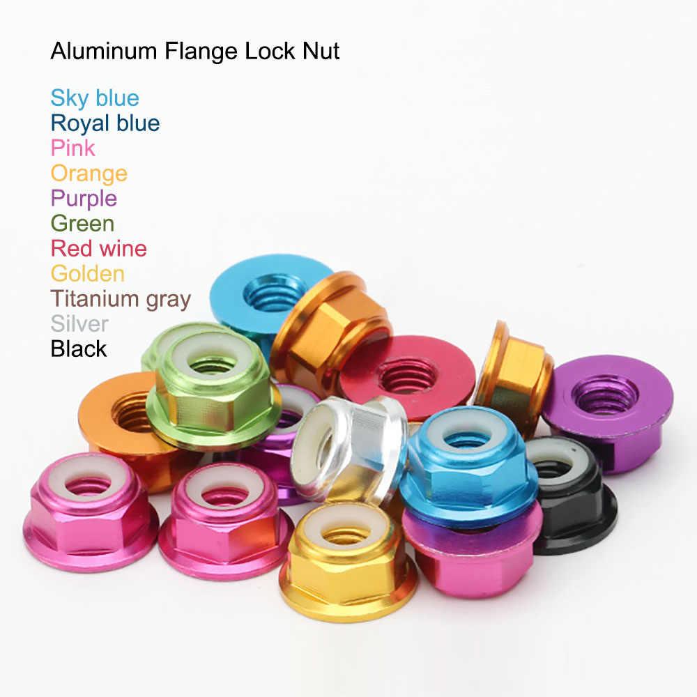 M2 M3 M4 M5 Aluminum Flanged Lock Nut  Purple Blue Red Gold Pink Green