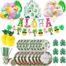Ballons de décoration pour fête tropicale hawaïenne, feuille de palmier, Aloha, ananas, flamand rose, pour l'été, pour la plage, pour cadeau