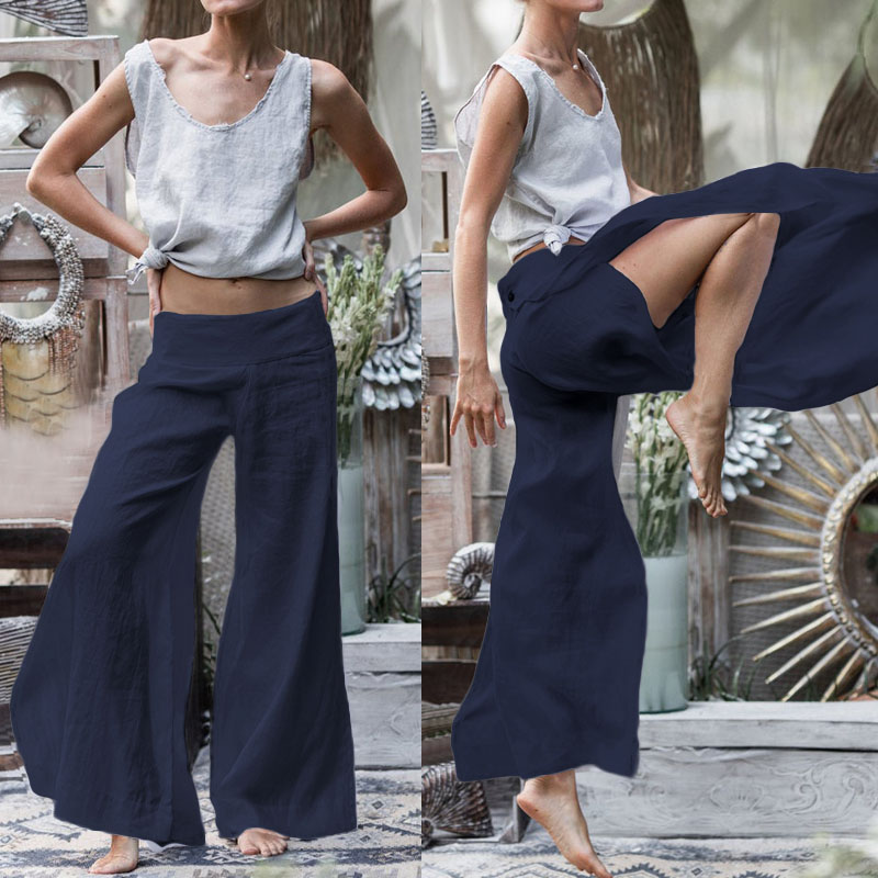 Vintage Palazzo Women Wide Leg   Pants   Celmia 2020 Fashion High Split Trousers Casual Loose   Capris   Long Pantalon Femme Plus Size 7