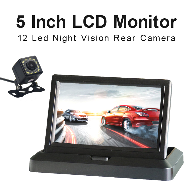 5 Inch TFT LCD 800*480 Foldable Car Monitor Reverse Parking Monitor And 12 LED Night Vision Rear View Camera