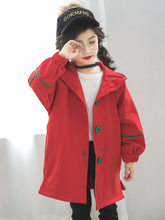 2019 Autumn Fall Girls Jacket For Windbreaker Toddler Kids Red Green Trench Coat Children Outerwear Hooded Clothes