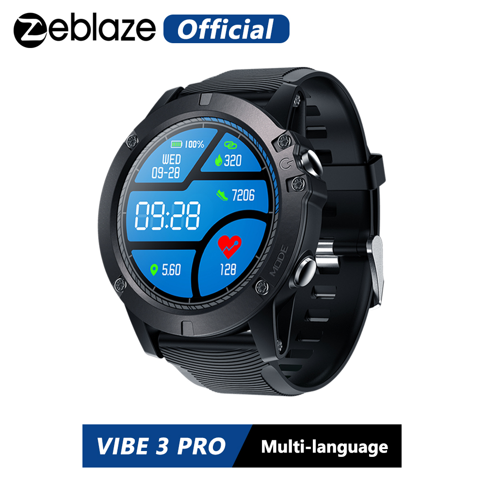 Zeblaze VIBE 3 PRO Color Touch Display Sports Smartwatch Heart Rate IP67 Waterproof Weather Remote  Music Men For IOS & Android