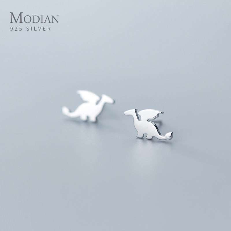 Modian Cute Animal Dinosaur Stud Earrings For Women 925 Sterling Silver Tiny Korean Girls Earings Accessories Jewelry Oreilles