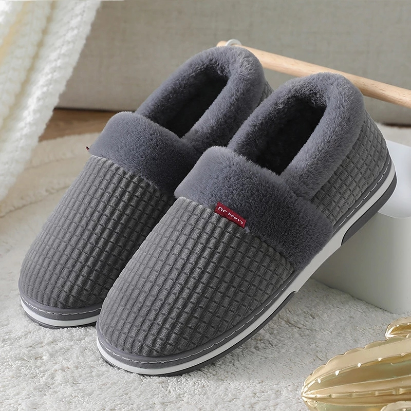 Home Slippers Winter Men Slippers Indoor for men Suede Gingham Non slip Anti-skid Platform shoes Plus size 50
