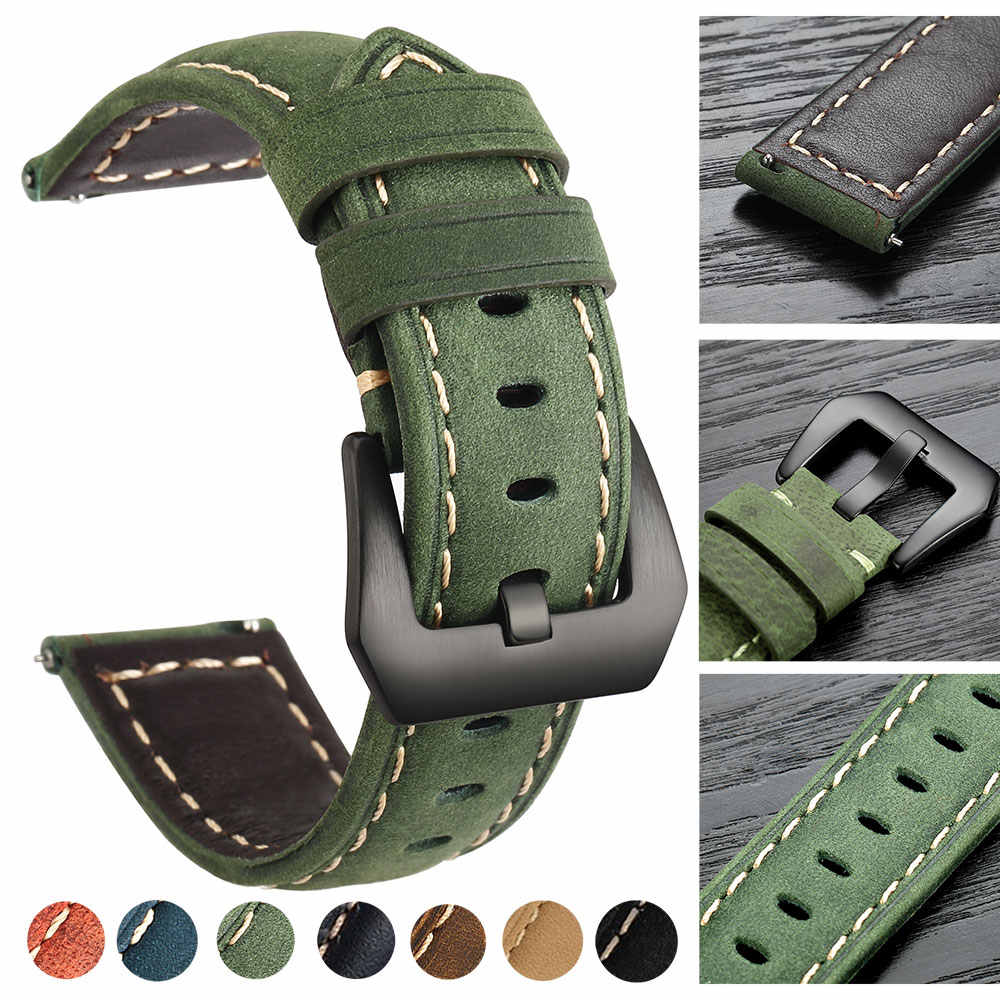 20 Mm 22 Mm Genuine Leather Watch Band untuk Amazfit Huawei Samsung Galaxy Menonton 46 Mm 42 Mm Gear S3 tali Tali Pengganti