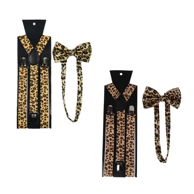 Men Women Suspender Bow Tie Set 2.5cm Wide Animal Leopard Print Adjustable 3 Clip-on Y-Back Elastic Belt Braces Bowtie