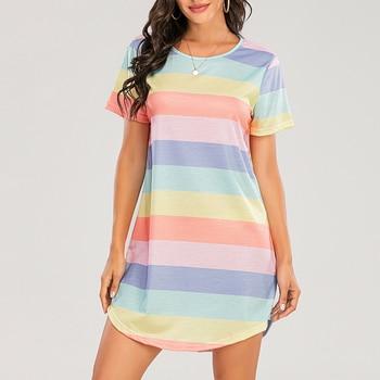 Sexy Pyjamas Night Dress for Women Short-Sleeved Rainbow Striped Nightgown Loose Dormir Tops Large Size Leisure Sleepwear S-5XL 1