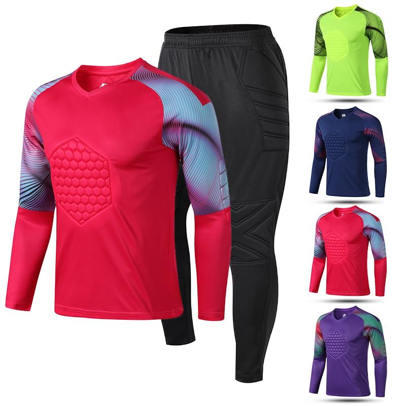 Men Soccer Football Goal Keeper Goalie Padded Long Pants Jersey Shirts Jersey